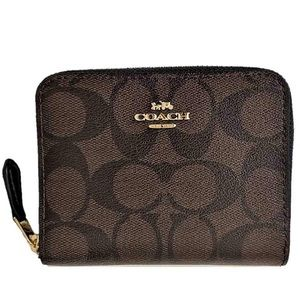 Coach NWT Signature Print Small Zip Around Wallet